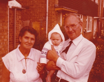 Mum and Dad Grace and Fred Broad in 1984 with baby Daniella