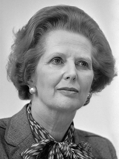 Margaret Thatcher wins less votes for the Tories but the even split of the Opposition parties gifts her a dominating Commons majority