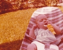 Baby Debbie at home in Gordon Road garden Summer 1979