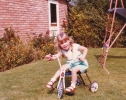 Debbie on trike at 6 Willow Close - 1982