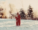 Debbie making a snowball 1982
