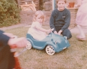 Debbie in her car with neighbour David Tomblin1982