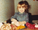 Debbie being messy with play-dough 1982