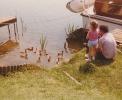 Debbie feeding my khaki campbell ducks at the Haylings moorings - 1983