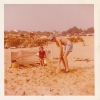 Daniel and i playing cricket on the beach Cornwall June 1975