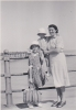 Mum (Grace) with Freda and I on pier c1950