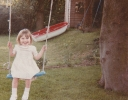 Della, on The Haylings swing May 1986