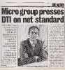 Microgroup presses DTI on net standard - Computing Spring 1985